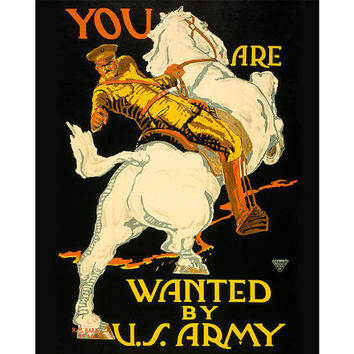 Vintage World War II Army Poster - You Are Wanted by US Army - US Army Recruiting WW2 wwii Propaganda Poster Army Decor Army Mom - 0599