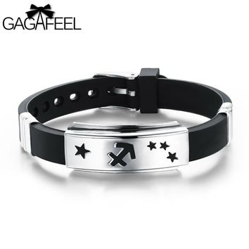 GAGAFEEL Men Women Jewelry High Quality Silicone Adjustable Bracelets Unisex Stainless Steel 12 Zodiac Signs Bangle  Gifts OB931