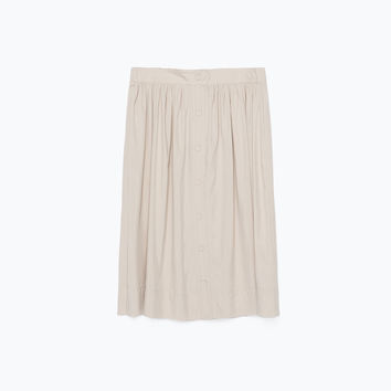 BUTTONED FLARED MIDI SKIRT