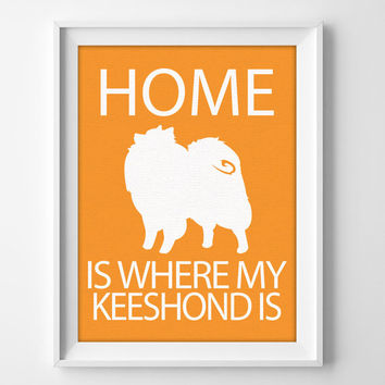 "8x10"" Keeshond Wall Art, Illustrated Dog Art, Keeshond Decor, Dog Breed Wall Art, Pet Owner Art, Keeshond Gift, Keeshond Print"