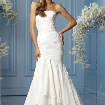New Arrival 1pcs/lot Luxurious Applique Beaded Strapless Long Mermaid Wedding Dress Bridal Gowns 2015