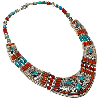 Ethnic Tribal Tibetan Turquoise With Red Coral Nepali Beaded Inlay Gemstone Necklace - Designer One Of A Kind Necklace-Chunky Necklace