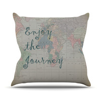 "Catherine Holcombe ""Journey"" World Map Outdoor Throw Pillow"