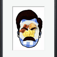 Ron Swanson Parks and Recreation Breakfast Poster Custom Silhouette NBC Rec Bacon Eggs Toast Collectible Print Collectors Art