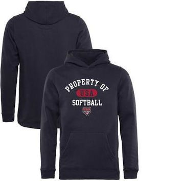 Licensed Sports USA Softball Fanatics Branded Youth Property Of Pullover Hoodie - Navy KO_20_2