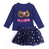 """Be A Hero"" 2PC Outfit Gold Sequins Navy Blue Or Gray Long Sleeve Shirt Tutu Skirt"