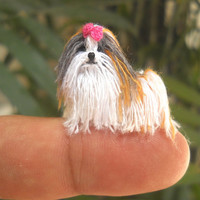Tricolor Shi Tzu - Tiny Crochet Miniature Dog Stuffed Animals - Made To Order
