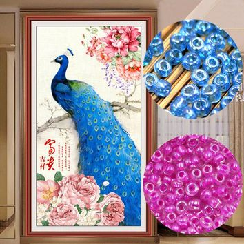 bead Cross stitch, Printed pattern, Branches blue peacock 815