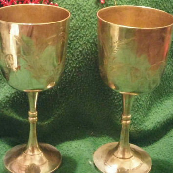 A Set of Two Gorgeous Vintage Silver Plated Wine Goblets / Glasses - Made in India