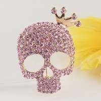 Free shipping New Fashion Women's 18k Gold Plated Skull Austrian Crystal Brooch Pin