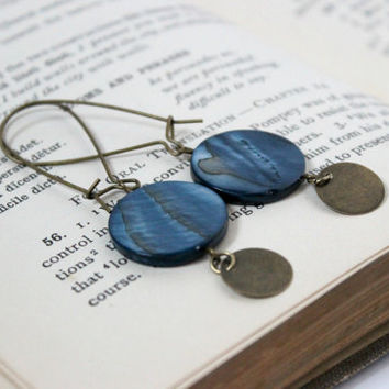Long Ocean Blue and Antique Gold Shell and Metal Disc Dangle Circle Earrings on Kidney Earwires - Handmade Beaded Jewelry - Ready to Ship