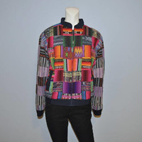 Vintage 1990's Patchwork Woven Bomber Jacket Rainbow Patches Patterned Crazy Zip-up Colorful Coat Hippie Bohemian Unique Kreations