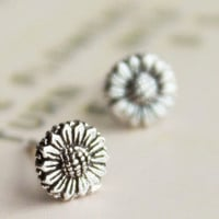 925 Sterling Silver Small Sunflower Flower Stud Earrings