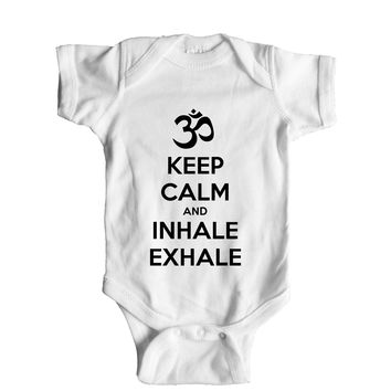 Keep Calm And Inhale Exhale (OM) Baby Onesuit