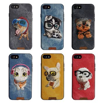 "Cute Dog&Cat Handmade Embroidery Denim Case For iPhone 7 4.7"" Ultra Thin TPU Protective Back Cover Phone Case For iPhone 8"