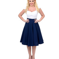 Navy High Waist Thrills Swing Skirt