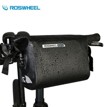 ROSWHEEL Bicycle Basket Handlebar Bag Bike Cycling Pack Waterproof Front Top Pouch PVC Tube Bg Roll Top Basket Bag For Bike