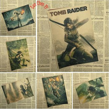 Tomb Raider 2 Classic Vintage Game  Kraft Paper Poster Bar Cafe  Interior Decoration painting Free Shipping