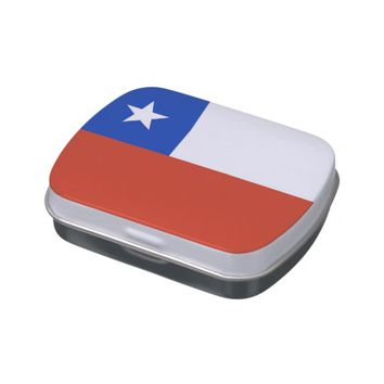 Patriotic candy tins with Flag of Chile