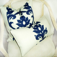 Set Of Two Blue and Off White Ikat And Off White Burlap Pillow Covers- Pillow Pleasing - Decorator Pillows