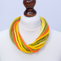 Bright, sunny twist necklace made of felt rope - wool, multistrand, fiber jewelry with twisted design - yellow multi strand necklace [N114]