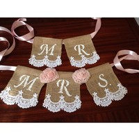 Mr and Mrs Burlap Lace Chair Banner