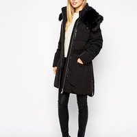 Karen Millen Padded Coat with Faux Fur Trim
