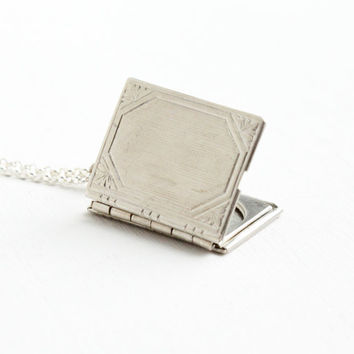 Vintage Sterling Silver Book Locket Necklace - Art Deco 1930s Linear Embossed Pendant Jewelry