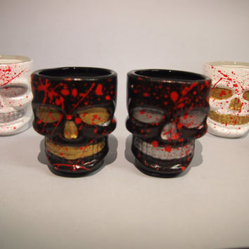 Hand painted shot glasses Skull mexican skull sugar skull Vasos chupito sangre blood terror horror
