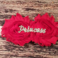 """Princess"" Red Rhinestone and Glitter Baby Girl Headband!"