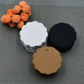 100Pcs Lace Round Mini Writing Card Scallop Head Label Luggage Kraft Paper Tags Wedding Note Blank Price Hang Tag Kraft Gift