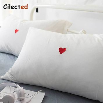 Cilected White Cotton Pillowcase Bedding For Couple Red Heart Embroidery Pillow Cover Bedroom Valentines Day Gift For Him Her