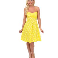 Yellow & White Polka Dot Spaghetti Strap Fit & Flare Dress