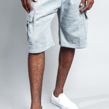 Men's Solid Fleece Heavyweight Cargo Shorts FS76