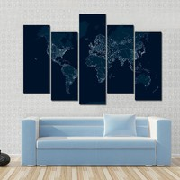 Communications Network Map Of The World Multi Panel Canvas Wall Art
