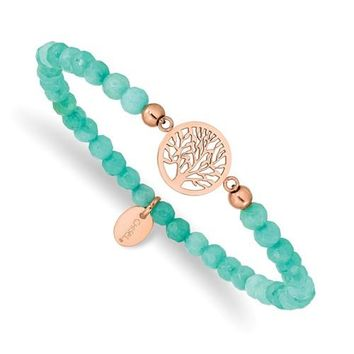 Stainless Steel Rose Gold Tree of Life 4.2mm Mint Green Jade Stretch Bracelet