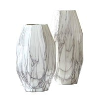 White Faux Marble Vases