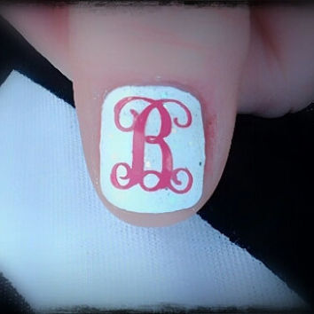 Single Letter Monogram Nail Decals set of 12 choice of 2 colors