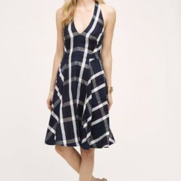 Eva Franco Plaid Halter Dress in Blue Motif Size: