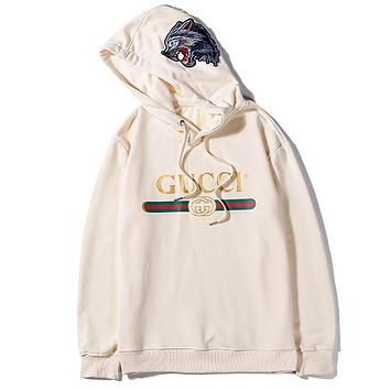 GUCCI 2019 new wolf head embroidery print hooded sweater white