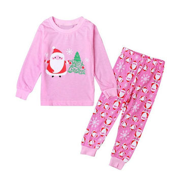 Child Sleepwear Santa Printed Pajamas Set Baby Merry Chrismas Kids Girls Christmas Nightwear Pink 2PCS 2~7YEARS