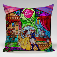 beauty and the best glass Square Pillow Case Custom Zippered Pillow Case one side and two side