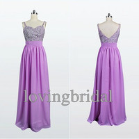 2014Long Beaded Chiffon Prom Dress Formal Party Dress Fashion Wedding Party Dress Prom Dress Homecoming Dress Bridesmaid Dress custom