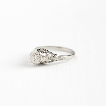 Antique 14k White Gold Art Deco Solitaire Diamond Ring - OB Ostby Barton 1920s Size 4 3/4 Vintage Filigree Fine Engagement Bridal Jewelry
