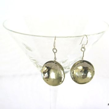 Boho Silver Disk Earrings, Hand Hammered Circle earrings