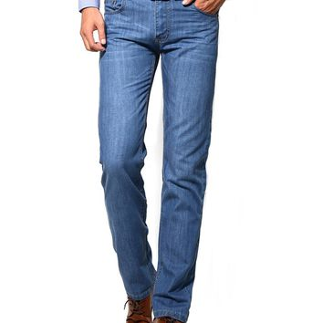 Streetstyle  Casual Basic Straight Light Wash Men's Jean