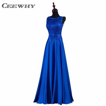 CEEWHY Blue Embroidery Formal Occasion Dress Robe De Soiree Bride Banquet Evening Dresses Long A-Line Prom Dresses Back Lace Up