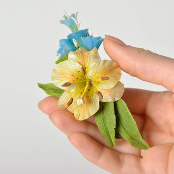 Handmade decorative hair clip with Japanese polymer clay blue flowers and lily