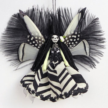 Dead Fairy decoration, Day of the Dead Fairy, handmade peg doll, OOAK