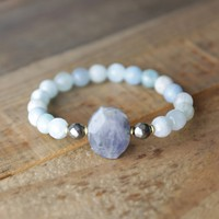 'Calm' Aquamarine and Labradorite Bracelet